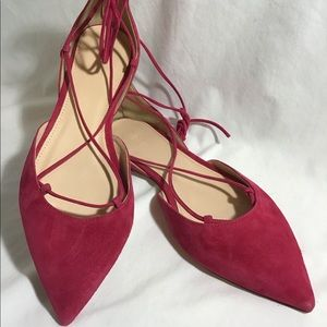 NEW J CREW Flats Lace Up Tie Pointed Toe Suede 8